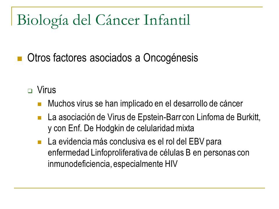 Biología del Cáncer Infantil Otros factores asociados a Oncogénesis Virus Muchos virus se han implicado en el desarrollo de cáncer La asociación de Vi