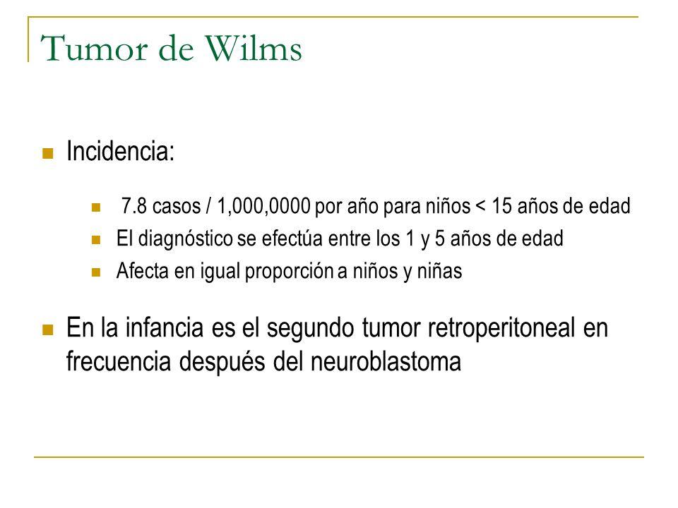 Tumor de Wilms Incidencia: 7.8 casos / 1,000,0000 por año para niños < 15 años de edad El diagnóstico se efectúa entre los 1 y 5 años de edad Afecta e