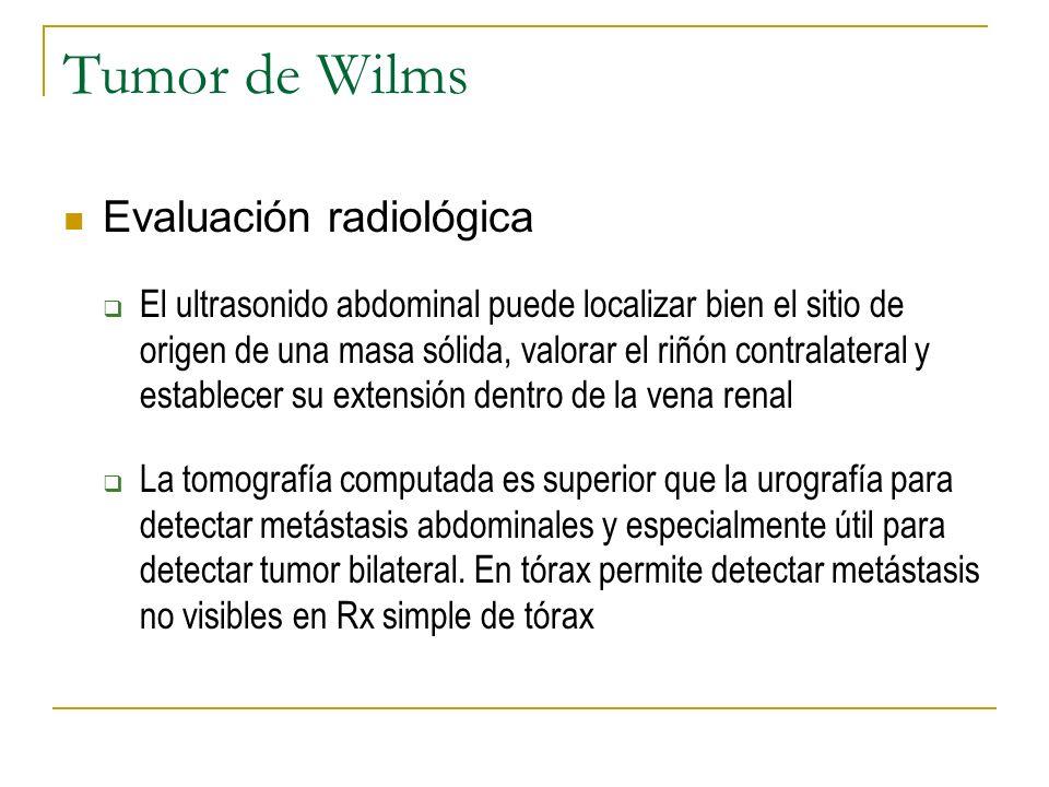 Tumor de Wilms Evaluación radiológica El ultrasonido abdominal puede localizar bien el sitio de origen de una masa sólida, valorar el riñón contralate