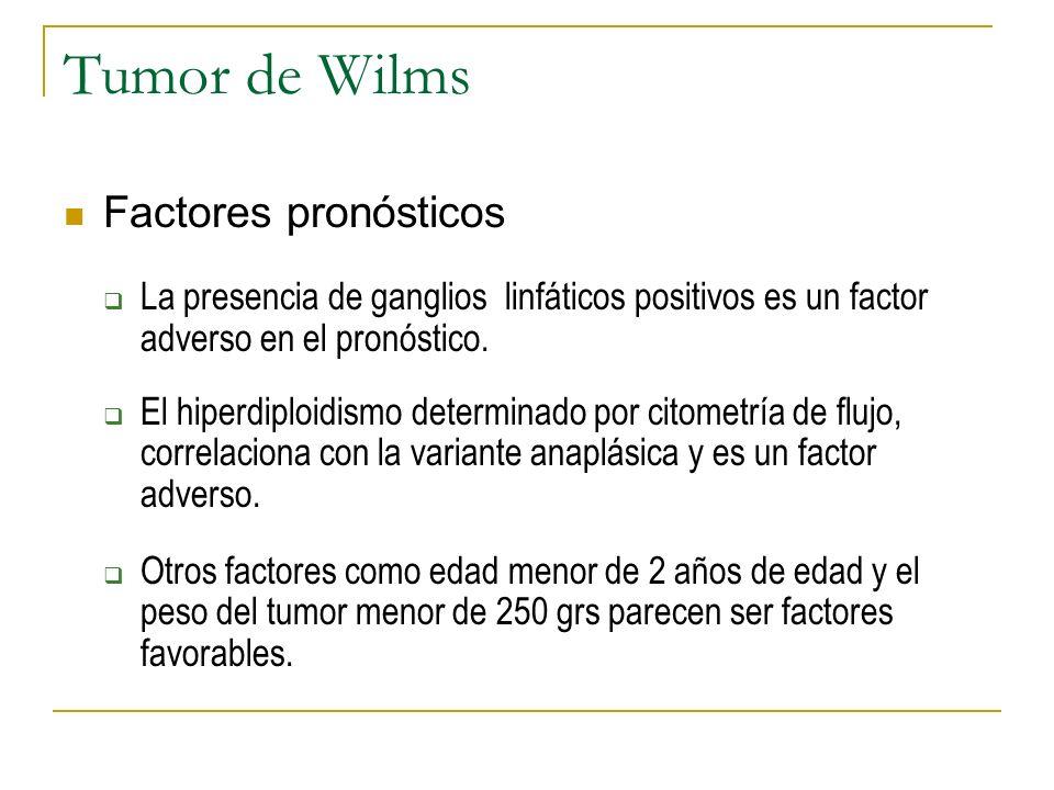 Tumor de Wilms Factores pronósticos La presencia de ganglios linfáticos positivos es un factor adverso en el pronóstico. El hiperdiploidismo determina