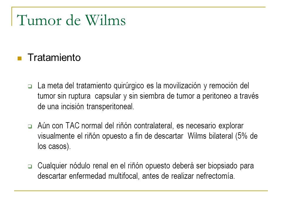 Tumor de Wilms Tratamiento La meta del tratamiento quirúrgico es la movilización y remoción del tumor sin ruptura capsular y sin siembra de tumor a pe