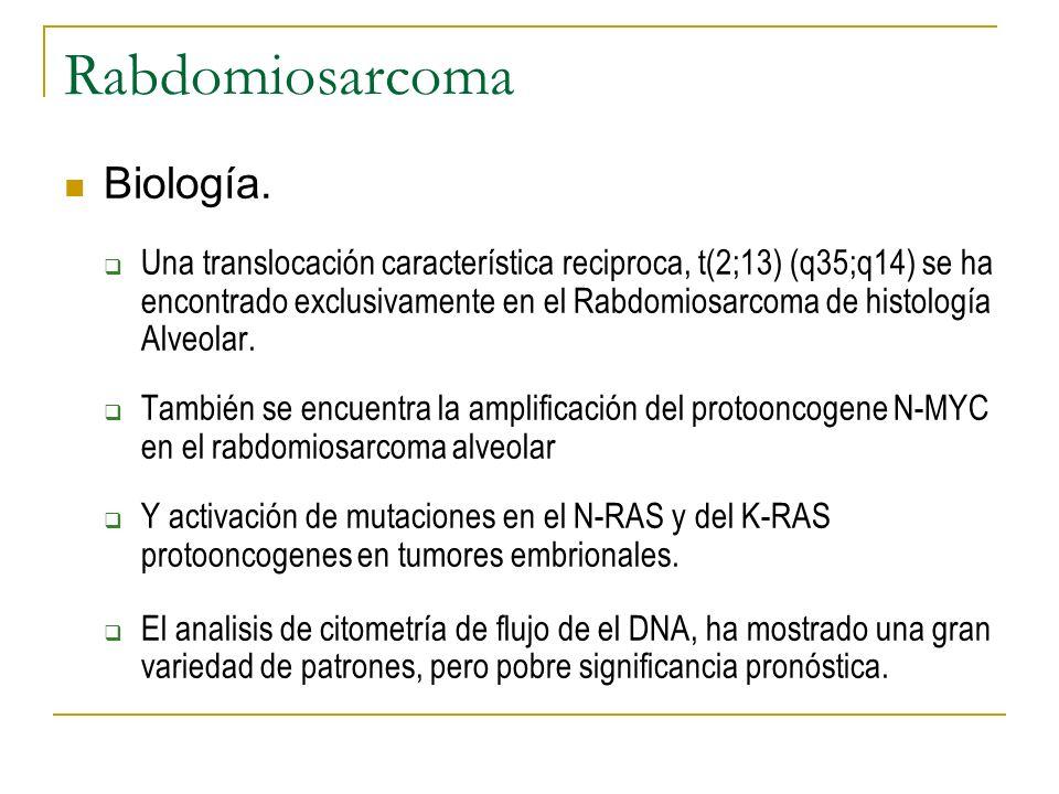 Rabdomiosarcoma Biología. Una translocación característica reciproca, t(2;13) (q35;q14) se ha encontrado exclusivamente en el Rabdomiosarcoma de histo