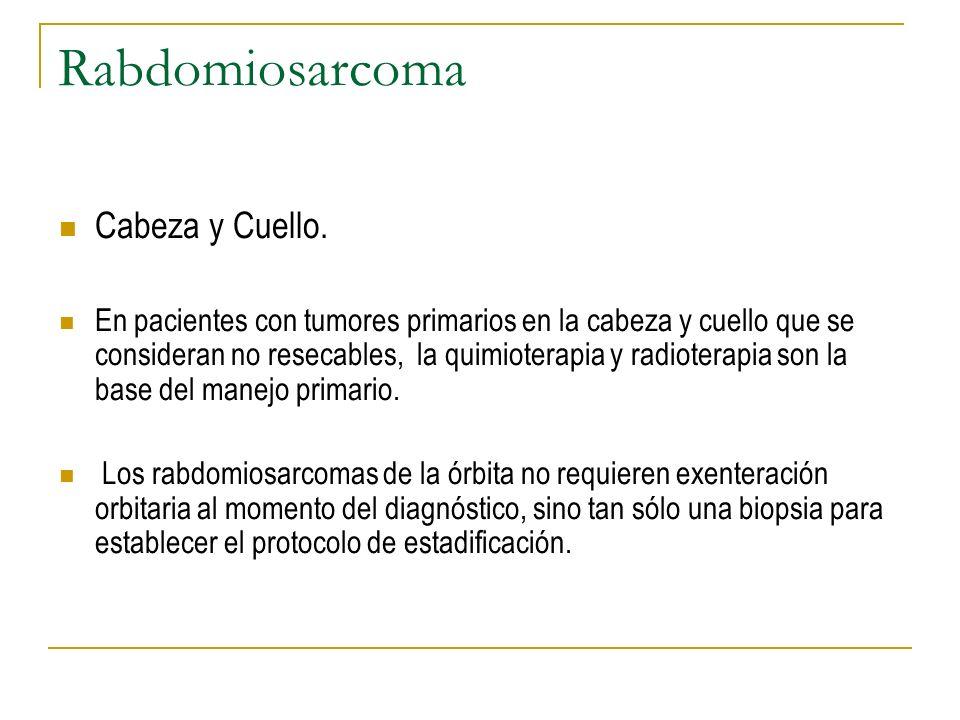 Rabdomiosarcoma Cabeza y Cuello. En pacientes con tumores primarios en la cabeza y cuello que se consideran no resecables, la quimioterapia y radioter