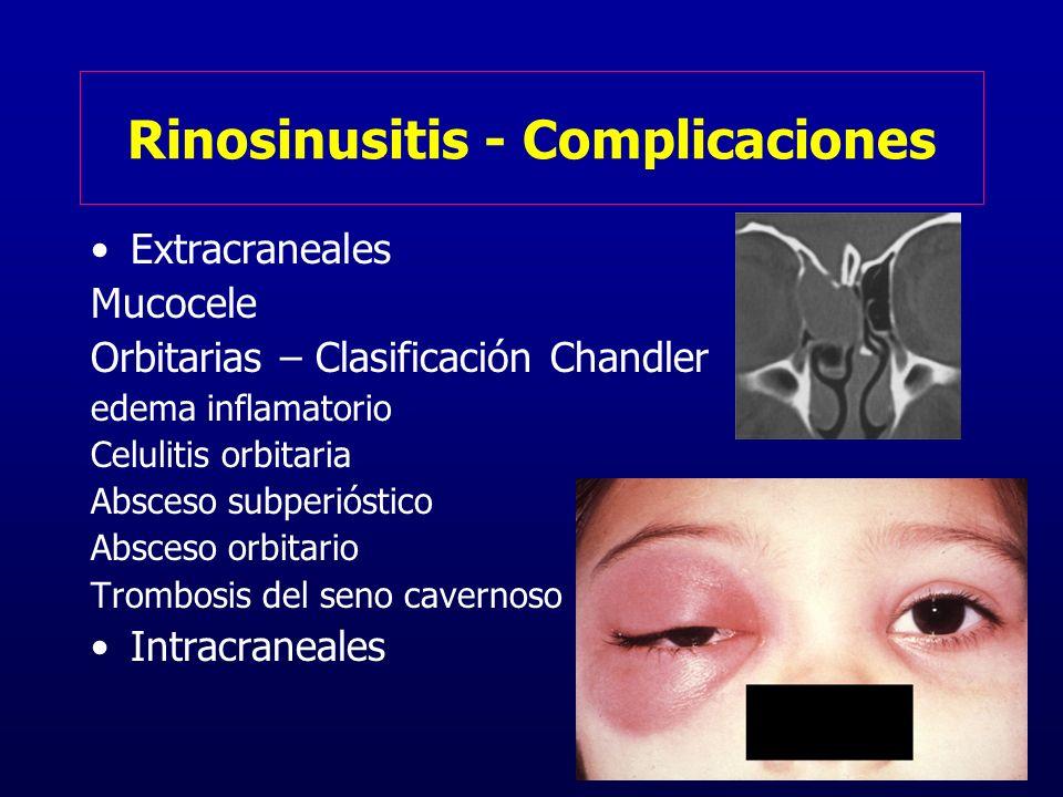 Rinosinusitis - Complicaciones Extracraneales Mucocele Orbitarias – Clasificación Chandler edema inflamatorio Celulitis orbitaria Absceso subperióstic