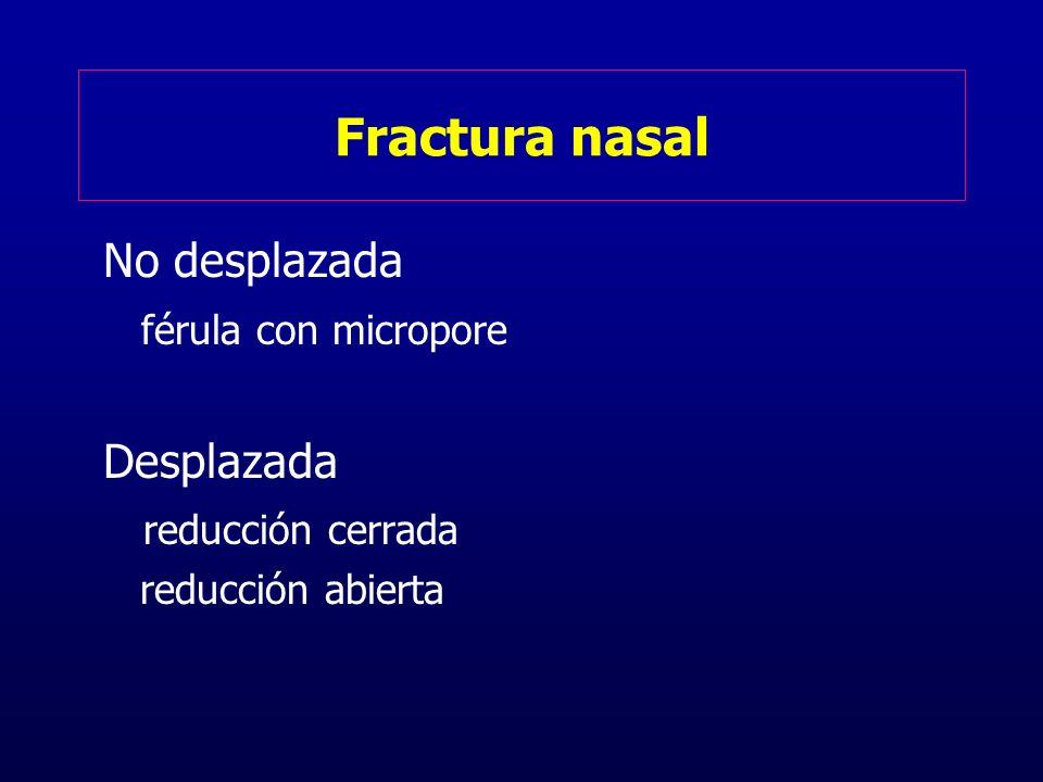 Fractura nasal No desplazada férula con micropore Desplazada reducción cerrada reducción abierta