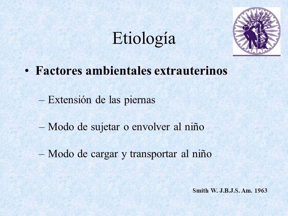 Etiología Factores ambientales extrauterinos –Extensión de las piernas –Modo de sujetar o envolver al niño –Modo de cargar y transportar al niño Smith