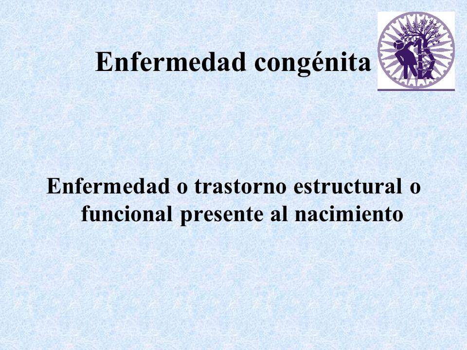 Enfermedad congénita Enfermedad o trastorno estructural o funcional presente al nacimiento