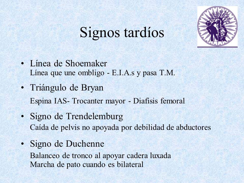 Signos tardíos Línea de Shoemaker Línea que une ombligo - E.I.A.s y pasa T.M. Triángulo de Bryan Espina IAS- Trocanter mayor - Diafisis femoral Signo