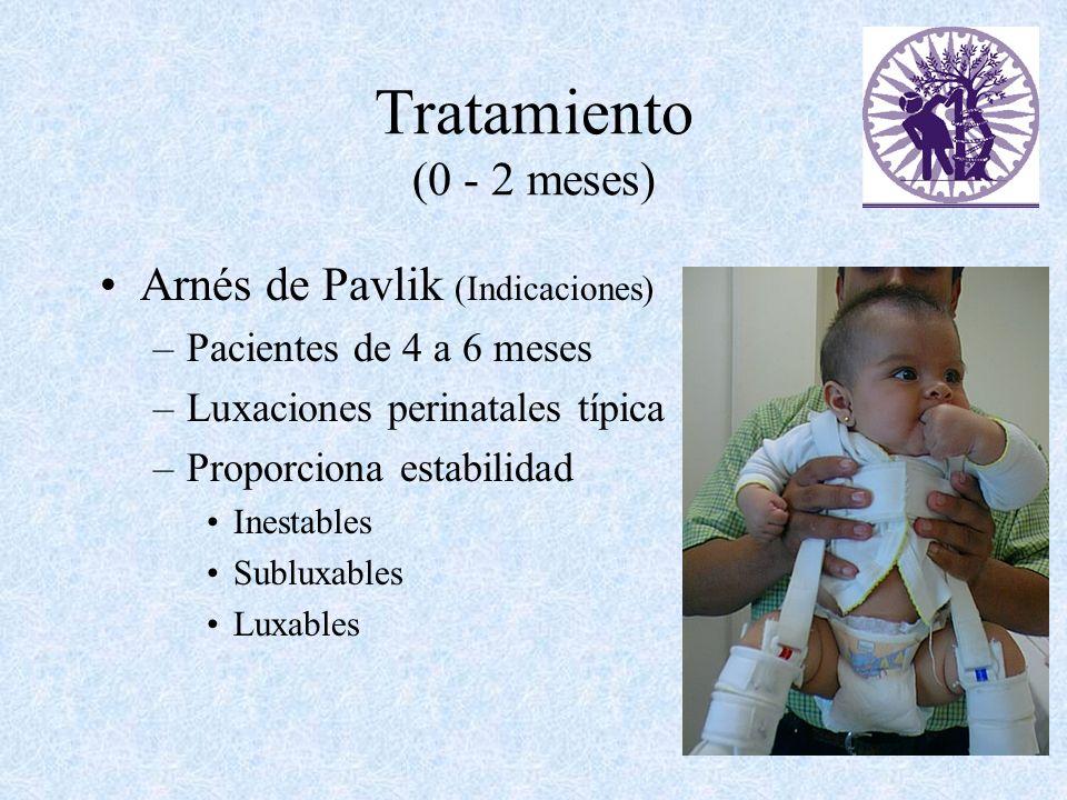 Tratamiento (0 - 2 meses) Arnés de Pavlik (Indicaciones) –Pacientes de 4 a 6 meses –Luxaciones perinatales típica –Proporciona estabilidad Inestables