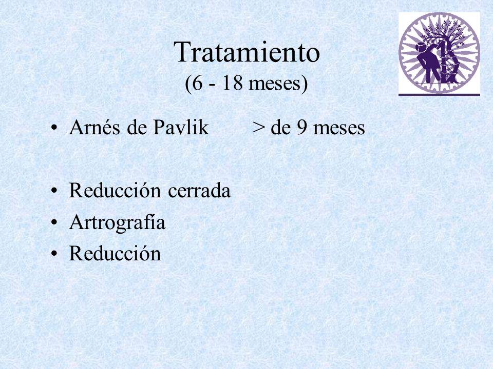 Tratamiento (6 - 18 meses) Arnés de Pavlik > de 9 meses Reducción cerrada Artrografía Reducción
