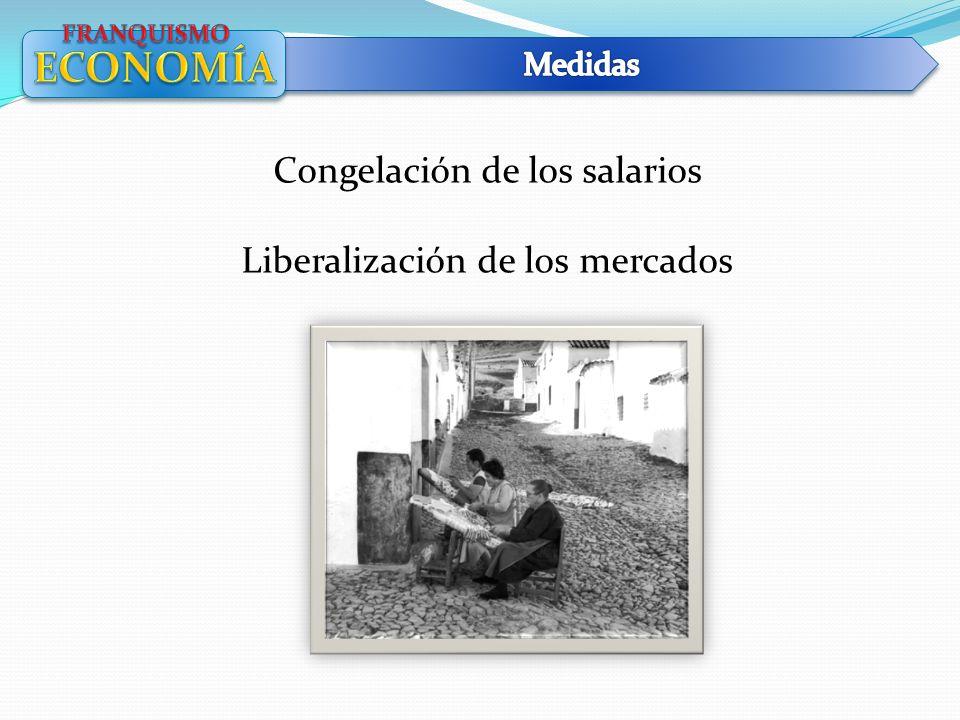 Congelación de los salarios Liberalización de los mercados