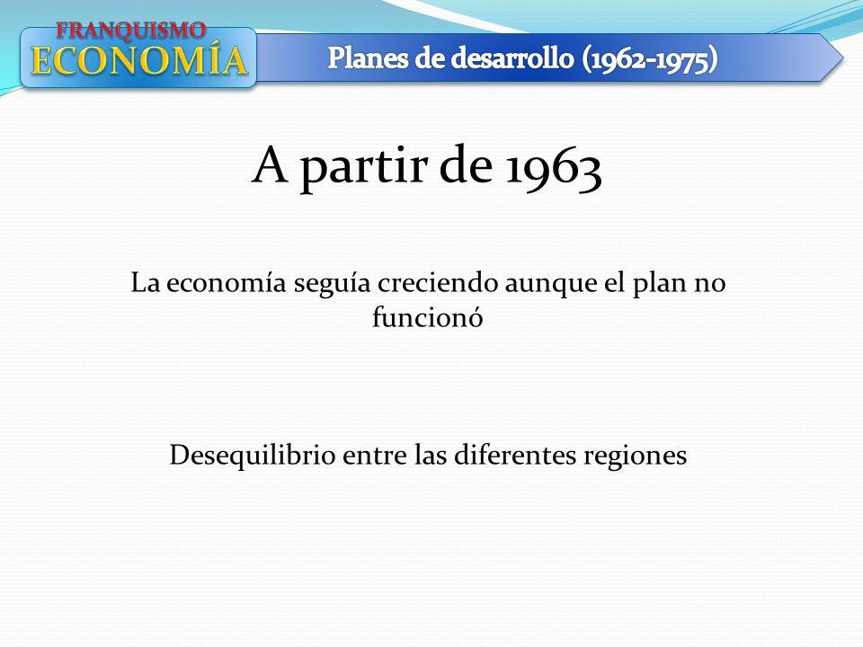 A partir de 1963 La economía seguía creciendo aunque el plan no funcionó Desequilibrio entre las diferentes regiones