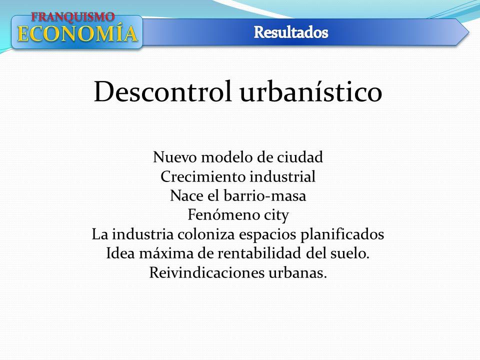 Descontrol urbanístico Nuevo modelo de ciudad Crecimiento industrial Nace el barrio-masa Fenómeno city La industria coloniza espacios planificados Ide