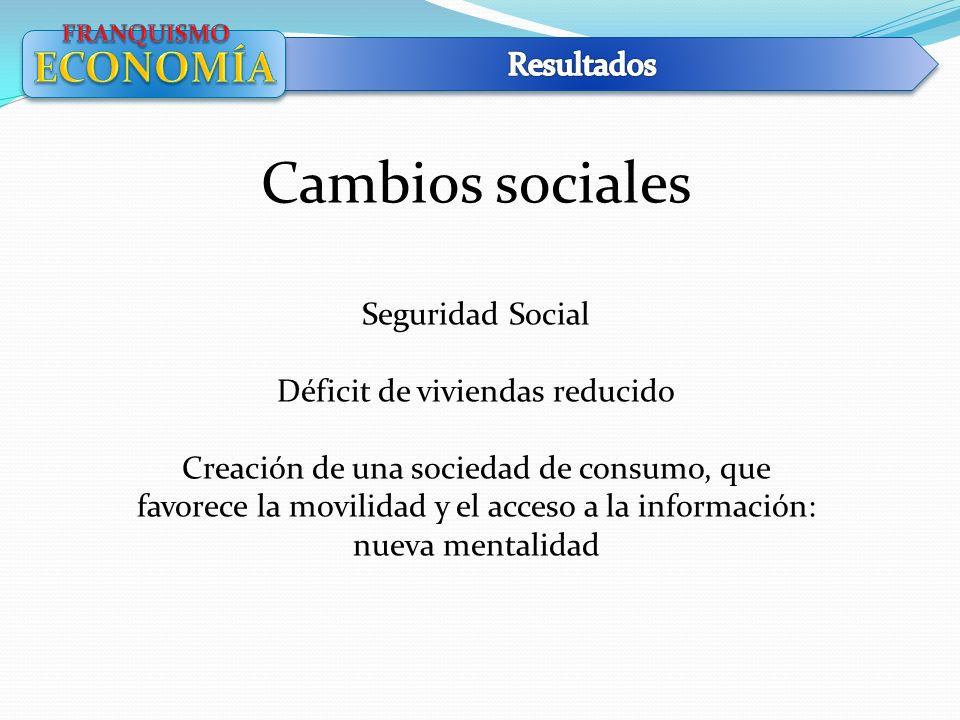 Cambios sociales Seguridad Social Déficit de viviendas reducido Creación de una sociedad de consumo, que favorece la movilidad y el acceso a la inform