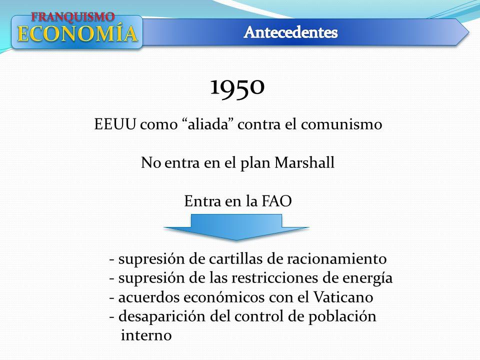 1950 EEUU como aliada contra el comunismo No entra en el plan Marshall Entra en la FAO - supresión de cartillas de racionamiento - supresión de las re