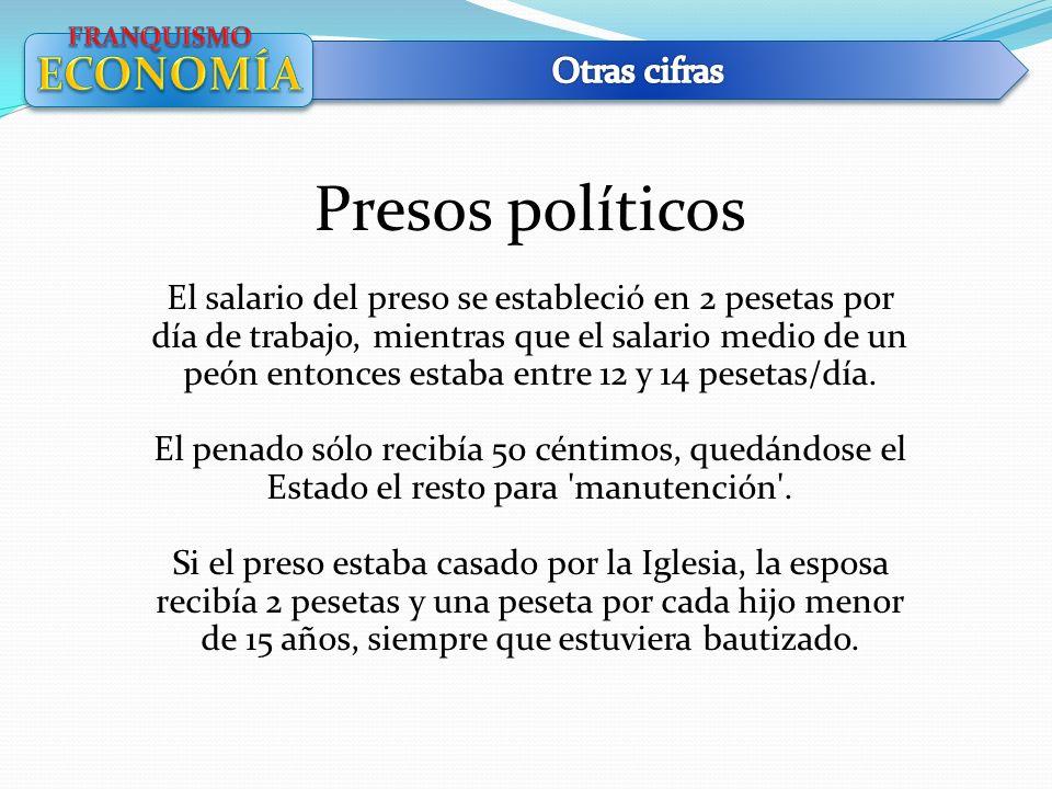 Presos políticos El salario del preso se estableció en 2 pesetas por día de trabajo, mientras que el salario medio de un peón entonces estaba entre 12