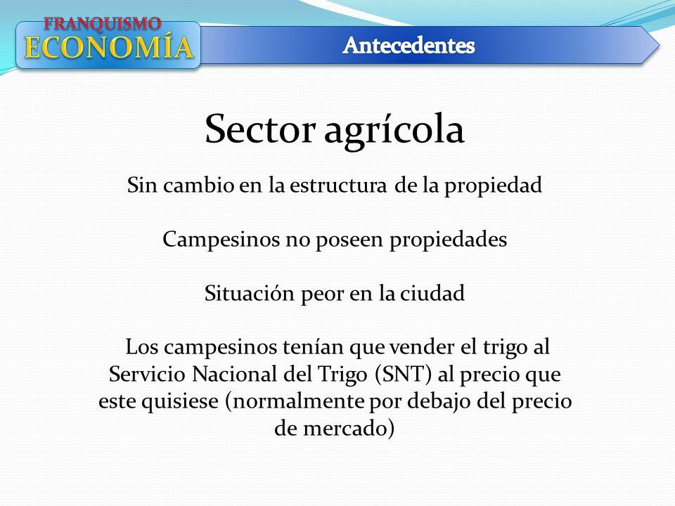 Sector agrícola Sin cambio en la estructura de la propiedad Campesinos no poseen propiedades Situación peor en la ciudad Los campesinos tenían que ven