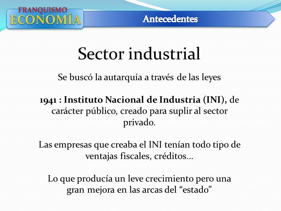 Sector industrial Se buscó la autarquía a través de las leyes 1941 : Instituto Nacional de Industria (INI), de carácter público, creado para suplir al