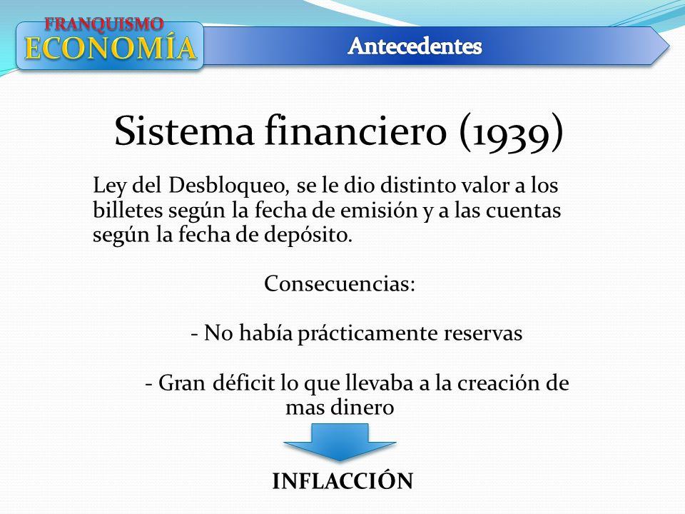 Sistema financiero (1939) Ley del Desbloqueo, se le dio distinto valor a los billetes según la fecha de emisión y a las cuentas según la fecha de depó