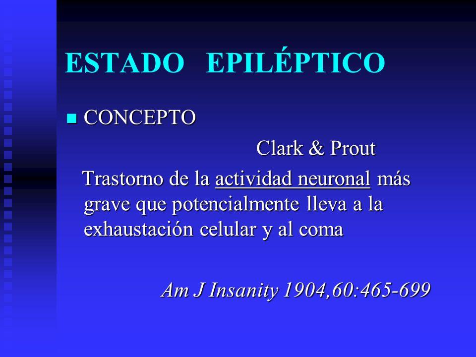 ESTADO EPILÉPTICO CONCEPTO CONCEPTOILAE Cualquier crisis epiléptica que tenga una duración de 30 mins o más, el paciente no recupere el estado de alerta.