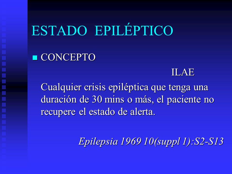 ESTADO EPILÉPTICO CONCEPTO CONCEPTOGastaut Crisis epiléptica con duración suficientemente larga o recurrente que produce una condición invariable y perpetuante.