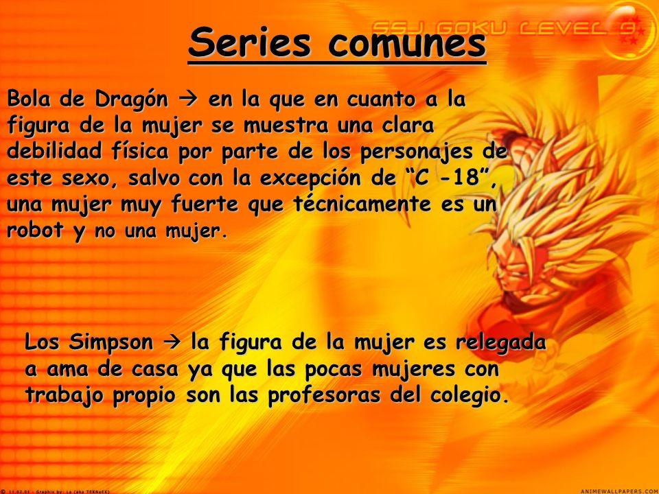 Series comunes Bola de Dragón en la que en cuanto a la figura de la mujer se muestra una clara debilidad física por parte de los personajes de este se
