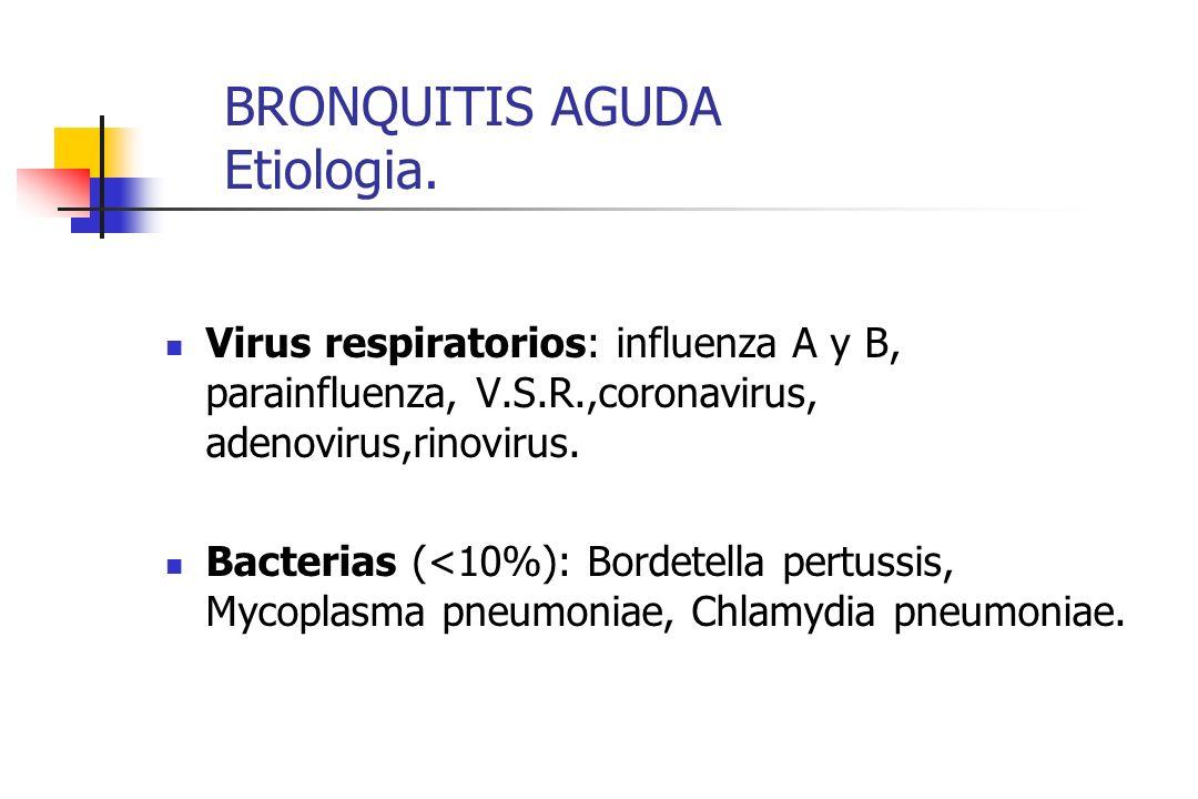 BRONQUITIS AGUDA Etiologia. Virus respiratorios: influenza A y B, parainfluenza, V.S.R.,coronavirus, adenovirus,rinovirus. Bacterias (<10%): Bordetell