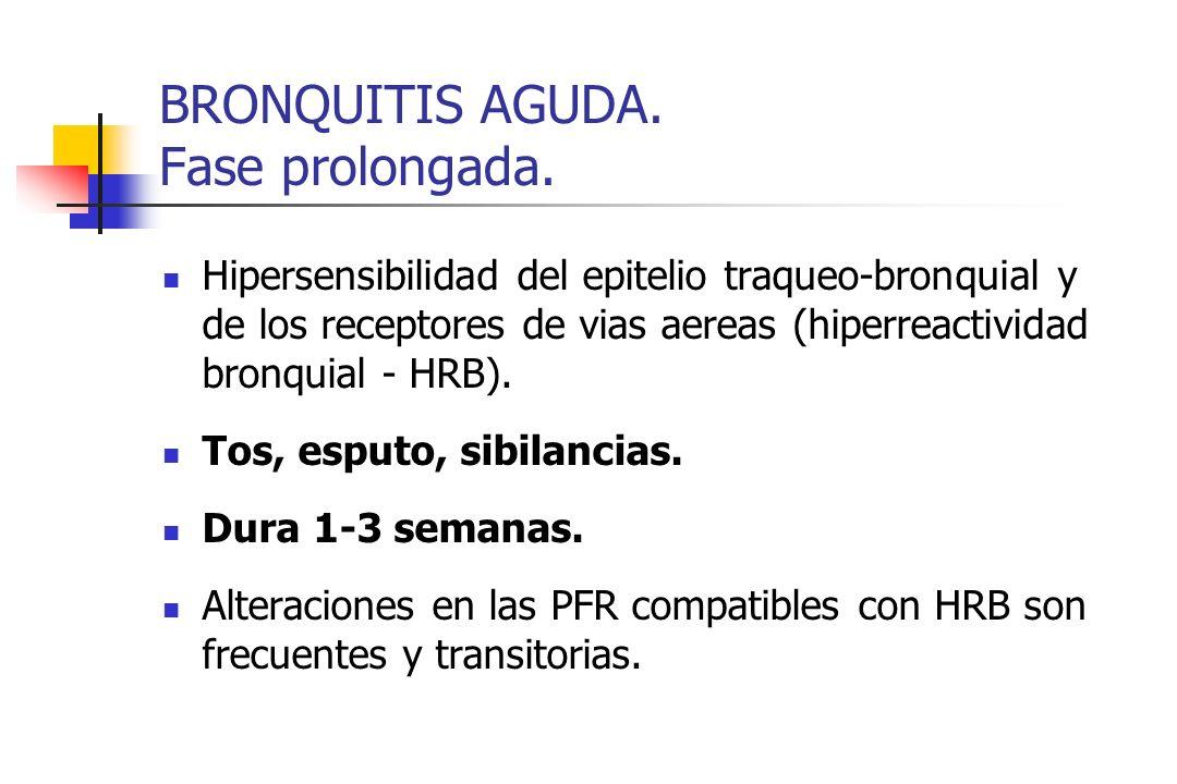 BRONQUITIS AGUDA. Fase prolongada. Hipersensibilidad del epitelio traqueo-bronquial y de los receptores de vias aereas (hiperreactividad bronquial - H