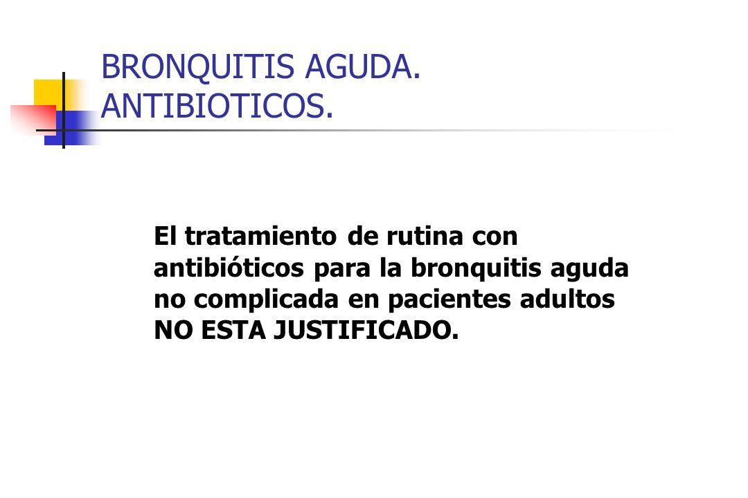 BRONQUITIS AGUDA. ANTIBIOTICOS. El tratamiento de rutina con antibióticos para la bronquitis aguda no complicada en pacientes adultos NO ESTA JUSTIFIC