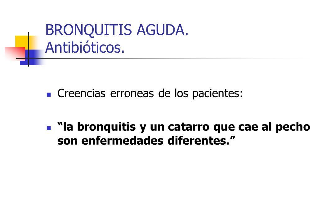 BRONQUITIS AGUDA. Antibióticos. Creencias erroneas de los pacientes: la bronquitis y un catarro que cae al pecho son enfermedades diferentes.