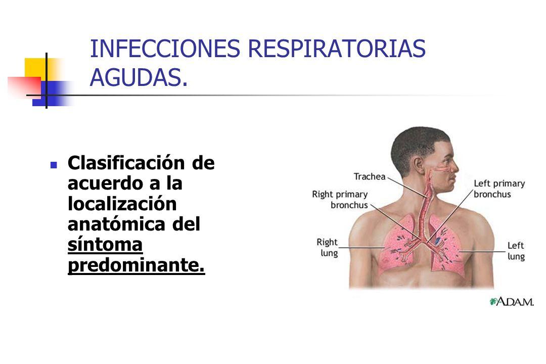 INFECCIONES RESPIRATORIAS AGUDAS. Clasificación de acuerdo a la localización anatómica del síntoma predominante.