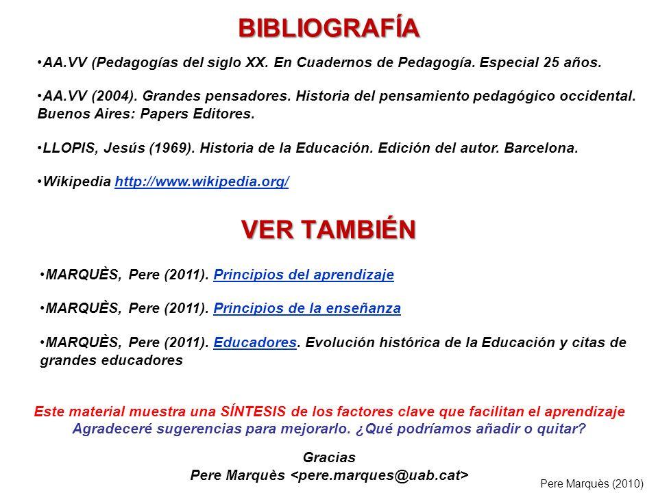 BIBLIOGRAFÍA MARQUÈS, Pere (2011). Principios del aprendizajePrincipios del aprendizaje MARQUÈS, Pere (2011). Principios de la enseñanzaPrincipios de