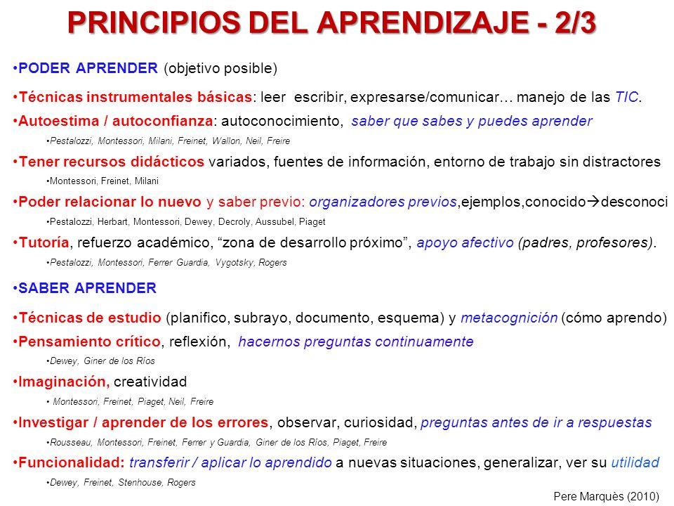 PRINCIPIOS DEL APRENDIZAJE - 2/3 PODER APRENDER (objetivo posible) Técnicas instrumentales básicas: leer escribir, expresarse/comunicar… manejo de las