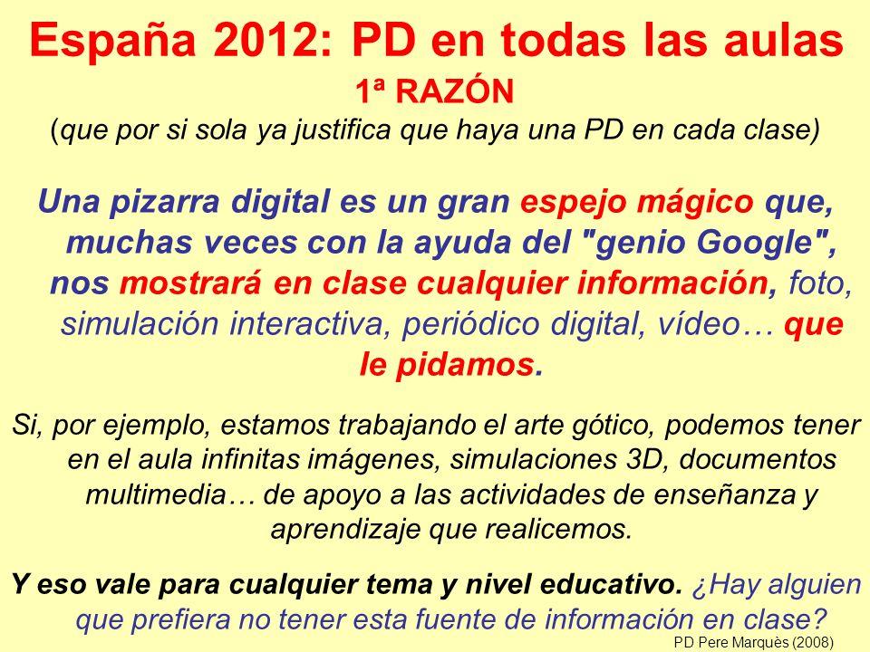 España 2012: PD en todas las aulas Una pizarra digital es un gran espejo mágico que, muchas veces con la ayuda del genio Google , nos mostrará en clase cualquier información, foto, simulación interactiva, periódico digital, vídeo… que le pidamos.