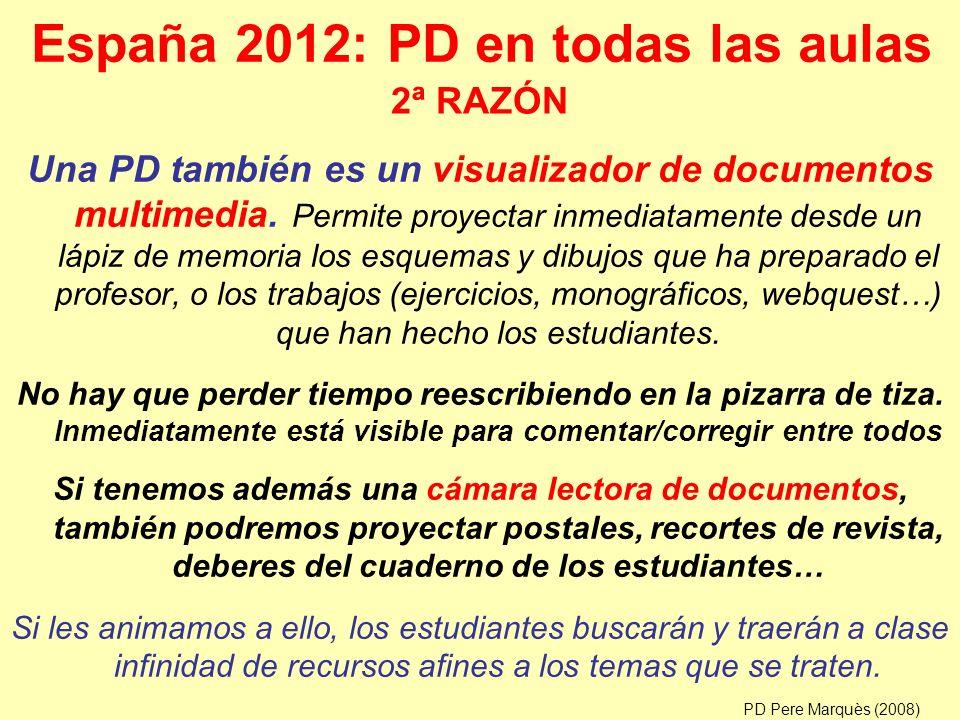 España 2012: PD en todas las aulas Una PD también es un visualizador de documentos multimedia.