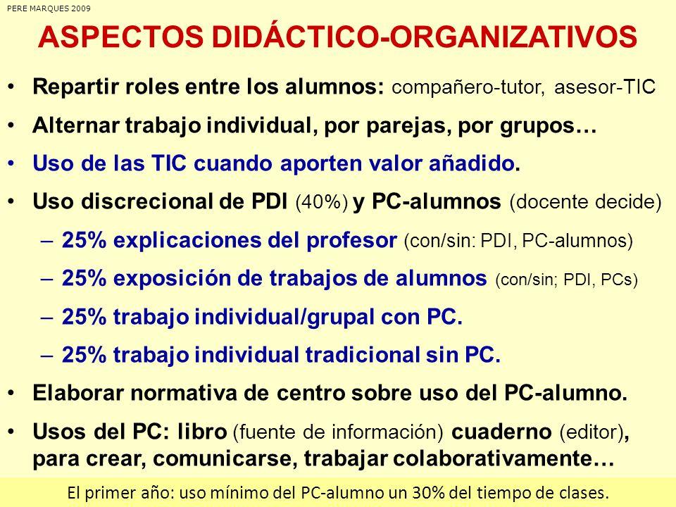 ASPECTOS DIDÁCTICO-ORGANIZATIVOS Repartir roles entre los alumnos: compañero-tutor, asesor-TIC Alternar trabajo individual, por parejas, por grupos… U
