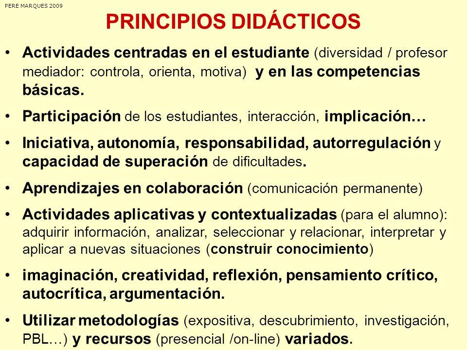 PRINCIPIOS DIDÁCTICOS Actividades centradas en el estudiante (diversidad / profesor mediador: controla, orienta, motiva) y en las competencias básicas