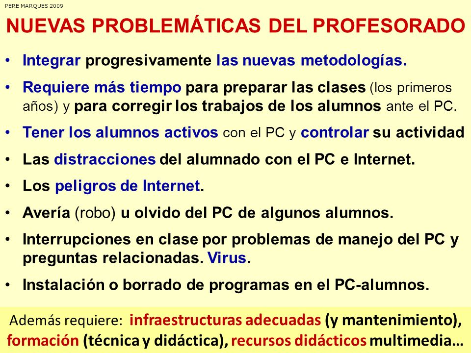 NUEVAS PROBLEMÁTICAS DEL PROFESORADO Integrar progresivamente las nuevas metodologías. Requiere más tiempo para preparar las clases (los primeros años