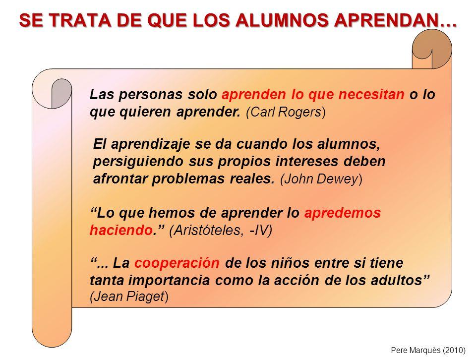 SE TRATA DE QUE LOS ALUMNOS APRENDAN… Pere Marquès (2010) Las personas solo aprenden lo que necesitan o lo que quieren aprender.