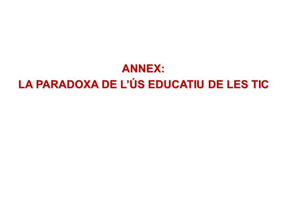 ANNEX: LA PARADOXA DE LÚS EDUCATIU DE LES TIC