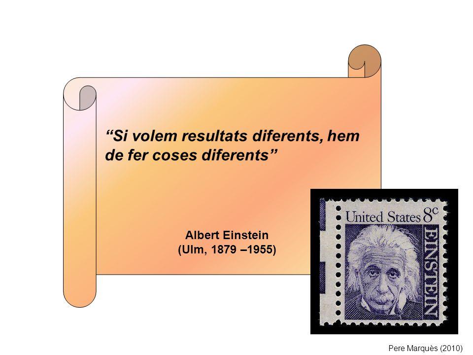 Si volem resultats diferents, hem de fer coses diferents Albert Einstein (Ulm, 1879 –1955) Pere Marquès (2010)