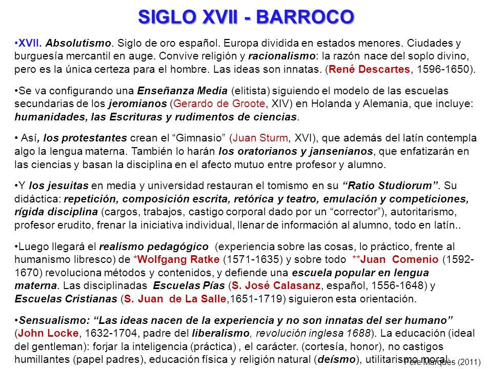 SIGLO XVII - BARROCO XVII. Absolutismo. Siglo de oro español. Europa dividida en estados menores. Ciudades y burguesía mercantil en auge. Convive reli