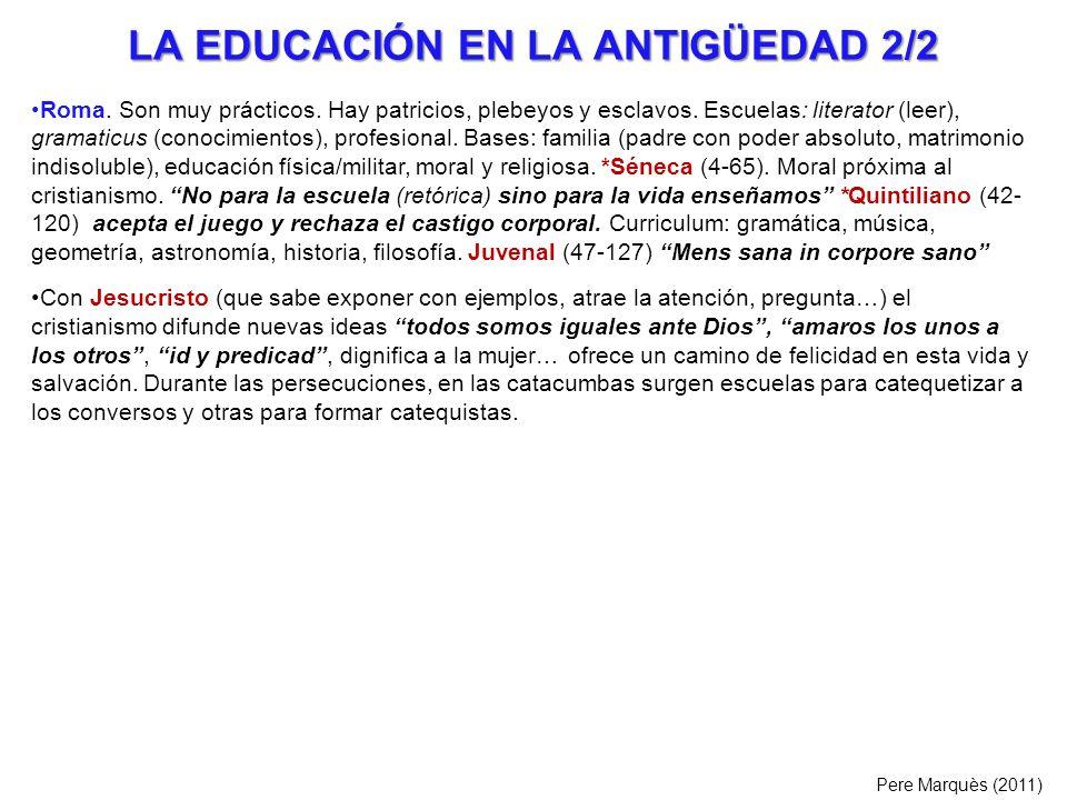 LA EDUCACIÓN EN LA ANTIGÜEDAD 2/2 Roma. Son muy prácticos. Hay patricios, plebeyos y esclavos. Escuelas: literator (leer), gramaticus (conocimientos),
