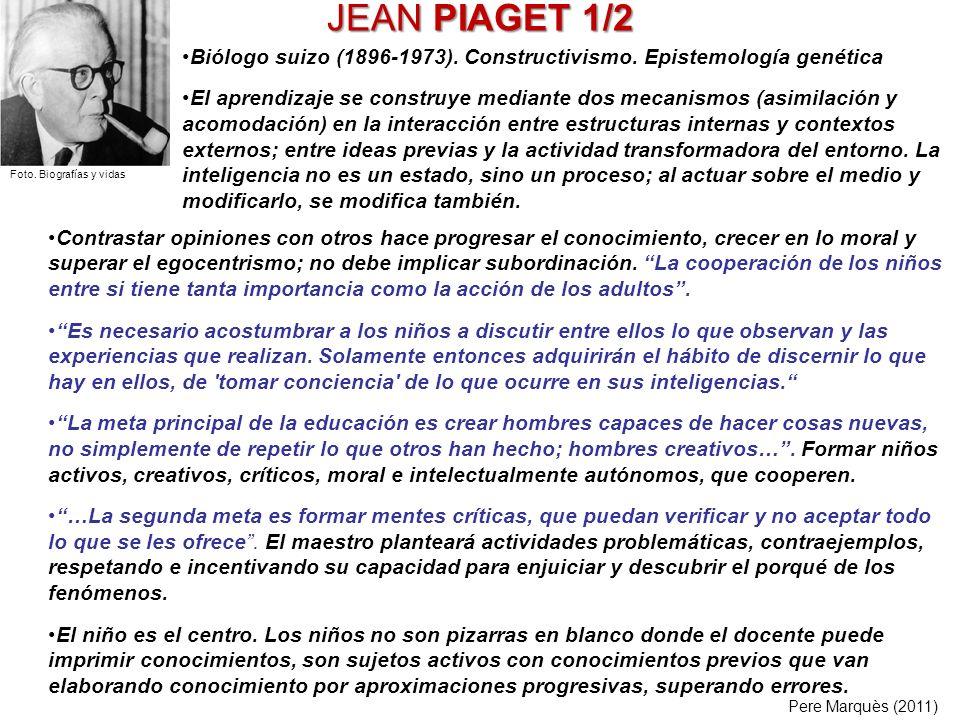 JEAN PIAGET 1/2 Contrastar opiniones con otros hace progresar el conocimiento, crecer en lo moral y superar el egocentrismo; no debe implicar subordin