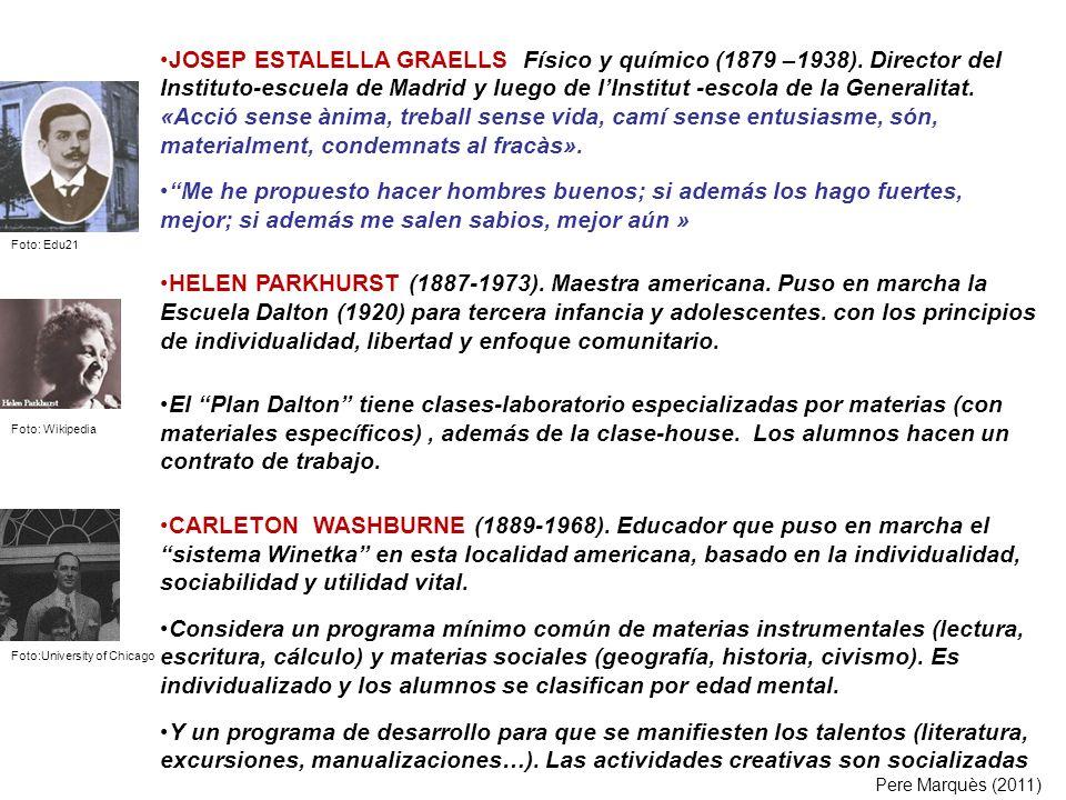 JOSEP ESTALELLA GRAELLS Físico y químico (1879 –1938). Director del Instituto-escuela de Madrid y luego de lInstitut -escola de la Generalitat. «Acció