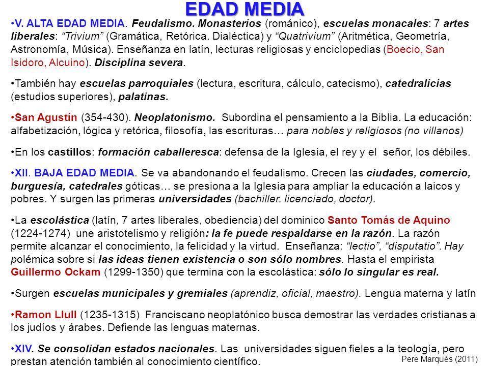 EDAD MEDIA V. ALTA EDAD MEDIA. Feudalismo. Monasterios (románico), escuelas monacales: 7 artes liberales: Trivium (Gramática, Retórica. Dialéctica) y