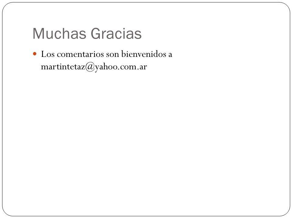 Muchas Gracias Los comentarios son bienvenidos a martintetaz@yahoo.com.ar