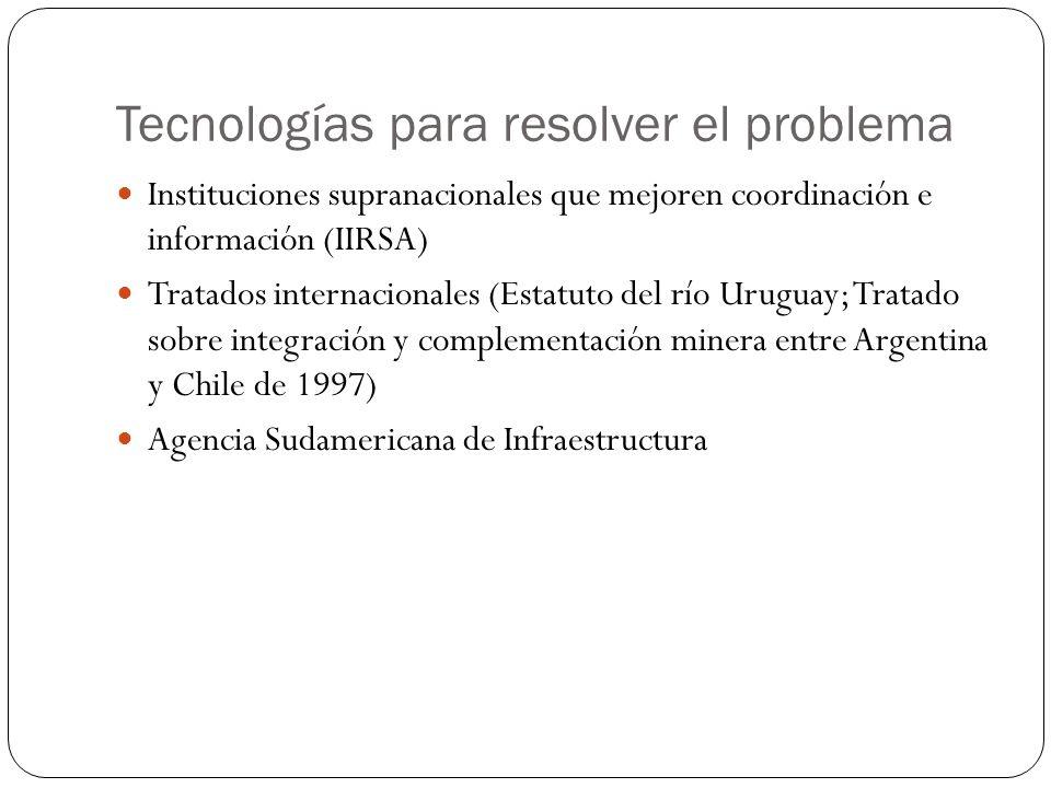 Tecnologías para resolver el problema Instituciones supranacionales que mejoren coordinación e información (IIRSA) Tratados internacionales (Estatuto del río Uruguay; Tratado sobre integración y complementación minera entre Argentina y Chile de 1997) Agencia Sudamericana de Infraestructura