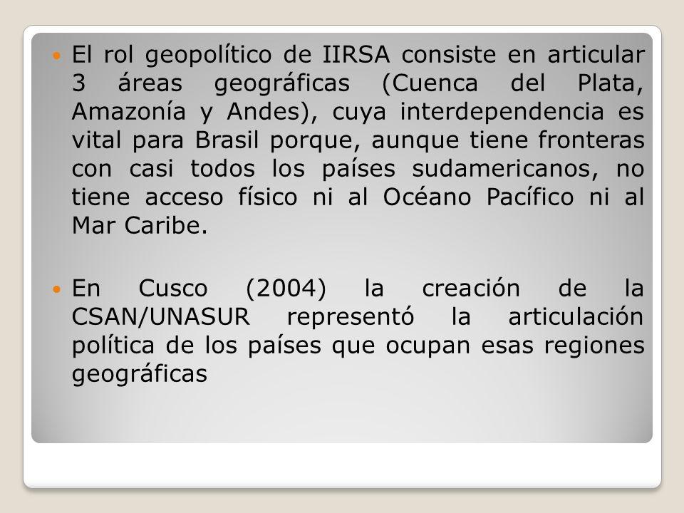 El rol geopolítico de IIRSA consiste en articular 3 áreas geográficas (Cuenca del Plata, Amazonía y Andes), cuya interdependencia es vital para Brasil