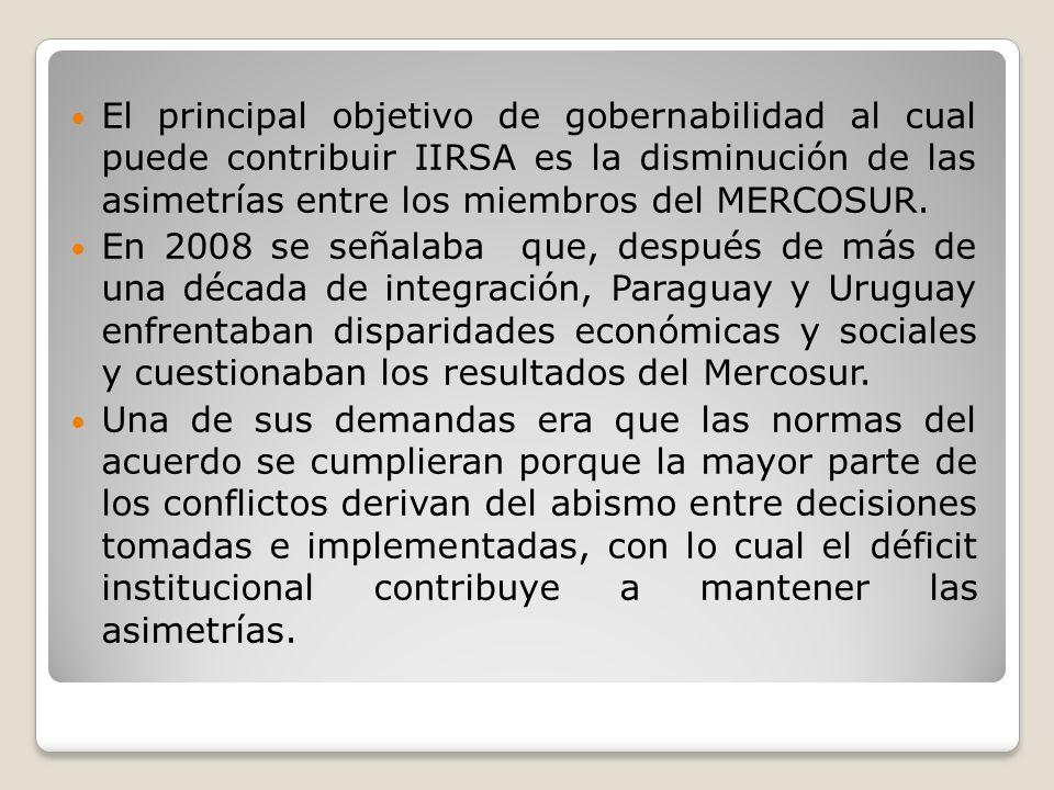 El principal objetivo de gobernabilidad al cual puede contribuir IIRSA es la disminución de las asimetrías entre los miembros del MERCOSUR. En 2008 se